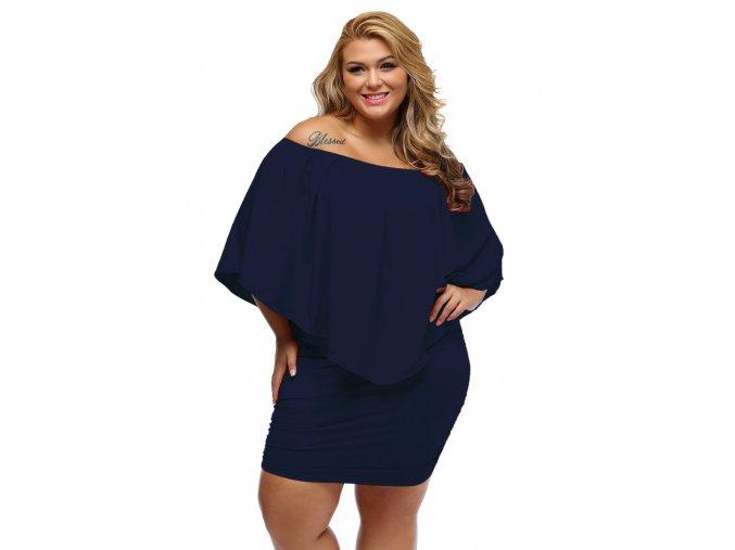 Tmavo-modré koktejlové šaty