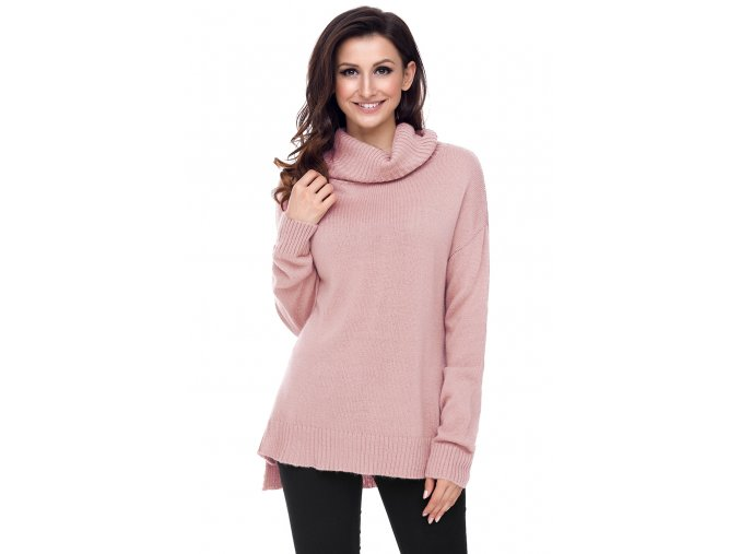 Pinkish Causal Knit High Neck Loose Sweater LC27795 10 1