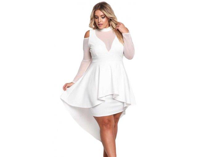 White Plus Size Mesh Trim Hi Lo Peplum Bodycon Dress LC61727 1 1