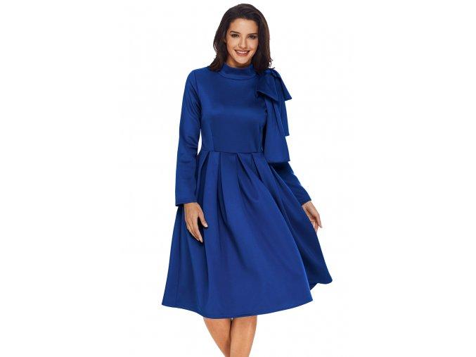 Modré šaty s mašľou