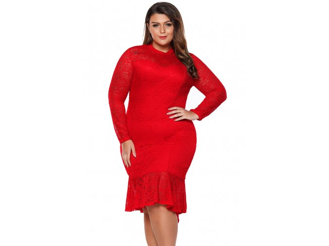 Red Plus Size Floral Lace Hi Lo Mermaid Dress LC61865 3 11