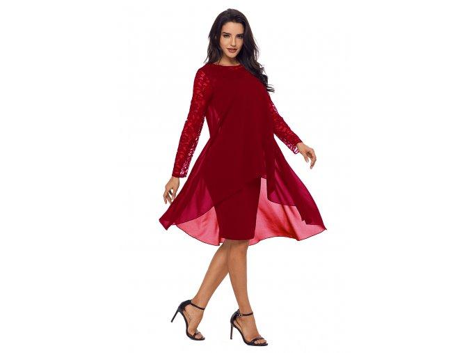 Bordové šaty s dlhým rukávom