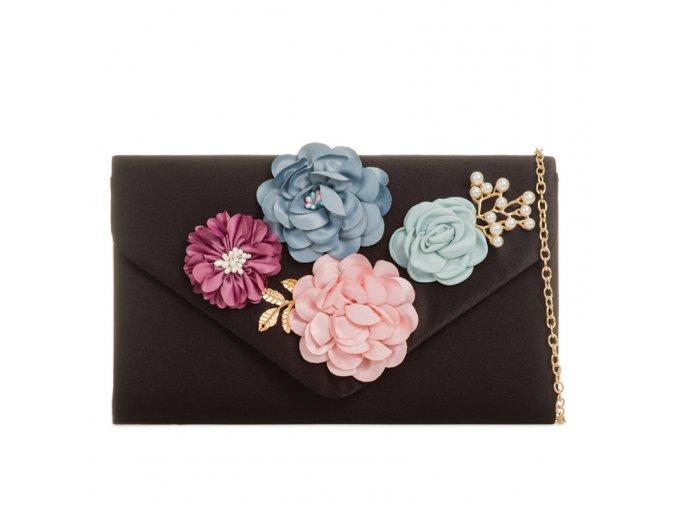 Čierna kabelka s kvetinami