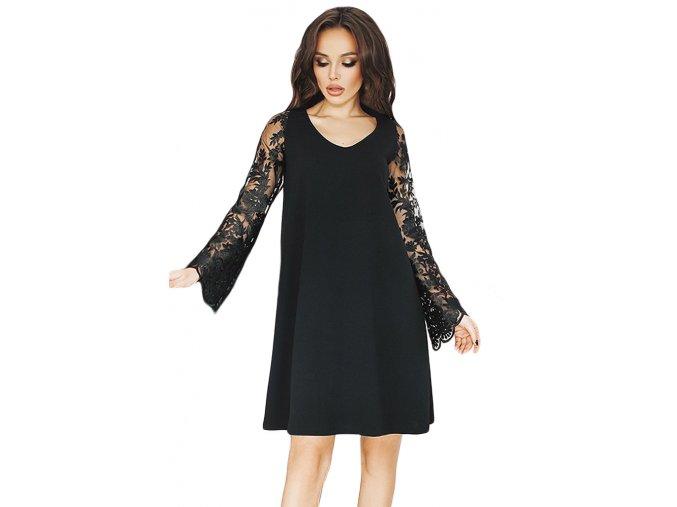 Čierne voľné šaty s čipkovanými rukávmi