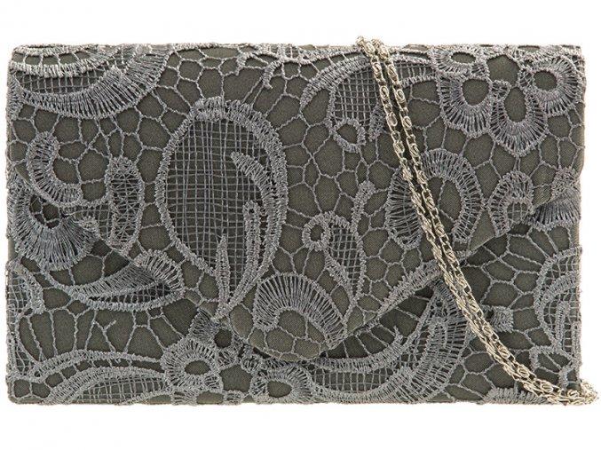 Sivá čipkovaná kabelka