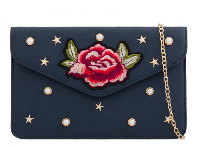 Modrá listová kabelka s ružou