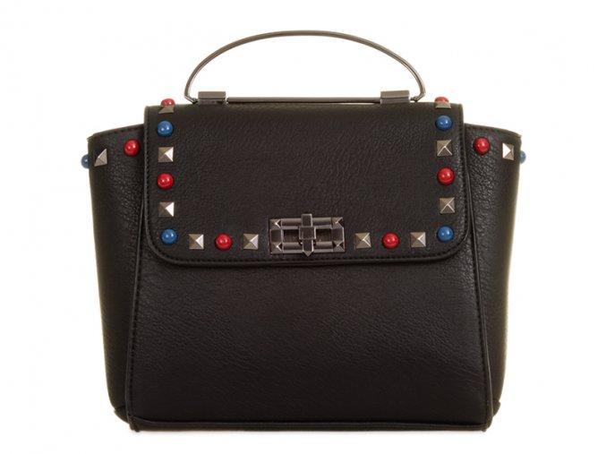 Čierna kabelka s farebným detailom