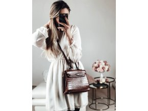 Hnedá kabelka s efektom krokodílej kože