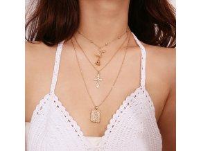 Zlatý vrstvený náhrdelník Rose