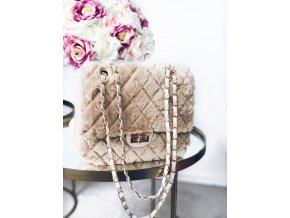 Béžovo-hnedá kožušinová kabelka Bella