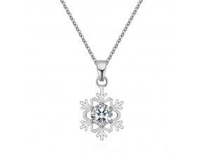 Elegantný náhrdelník s vločkou v striebornej farbe