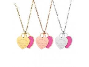 Rose gold náhrdelník s ružovým srdcom a nápisom Please return to