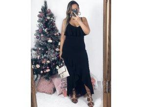Dlhé čierne šaty na ramienka s riasením