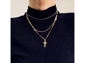 Zlatý vrstvený náhrdelník Cross