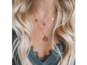 Zlatý vrstvený náhrdelník World