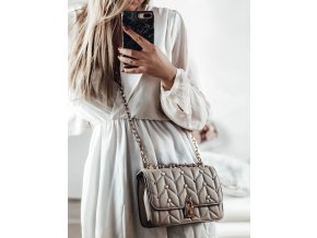 Béžová kabelka s perličkami