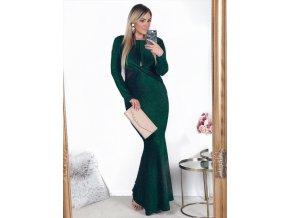 Dlhé zelené šaty s odhaleným chrbtom