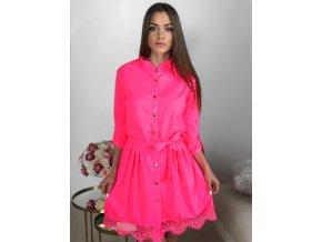 Neónovo-ružové košeľové šaty s čipkou