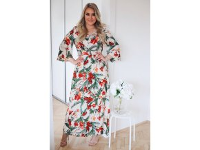 Košeľové šaty s exotickým vzorom v krémovej