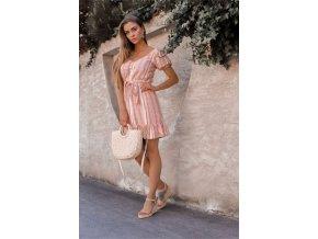 Bielo-ružové bavlnené šaty