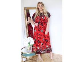 Dlhé voľné šaty v červenej farbe