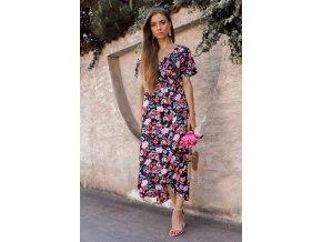 Tmavo-modré kvetinové zavinovacie šaty s krátkym rukávom