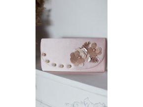 Svetlo ružová kabelka s perličkami a kvetinami