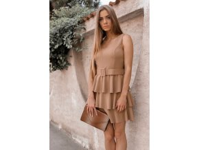 Elegantné hnedé šaty s opaskom