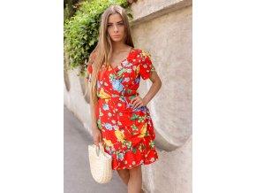 061567a8fe Krátke kvetinové zavinovacie šaty v červenej