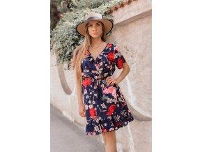 Krátke kvetinové zavinovacie šaty v tmavo-modrej