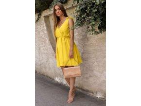 Krátke šaty s mašľami na ramenách v žltej