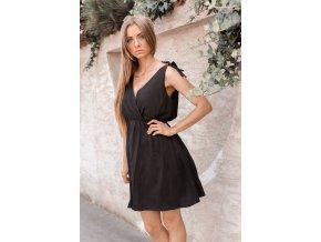 Krátke šaty s mašľami na ramenách v čiernej