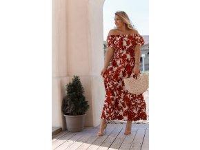 Červené kvetinové šaty so spustenými ramenami
