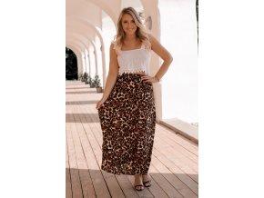 Hnedá sukňa s leopadrím vzorom
