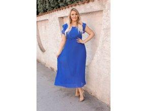 Dlhé modré šaty s krátkym rukávom
