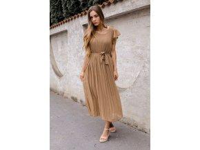 Hnedé midi šaty s krátkym rukávom