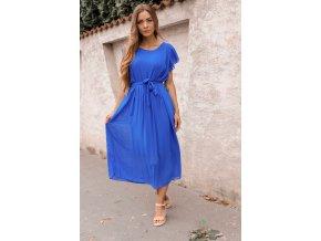 Modré midi šaty s krátkym rukávom