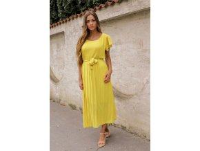 Žlté midi šaty s krátkym rukávom