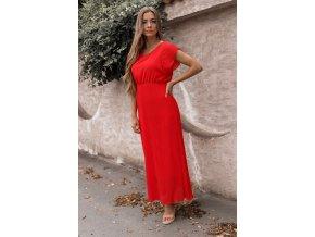 Dlhé červené šaty s krátkym rukávom