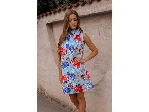 Krátke kvetinové šaty bez rukávov v modrej