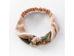 Zamatová ružovo-zelená čelenka