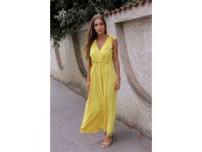 Dlhé žlté šaty s mašľami na ramenách