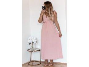 Dlhé svetlo-ružové šaty s mašľami na ramenách