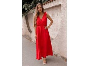 Dlhé červené šaty s mašľami na ramenách