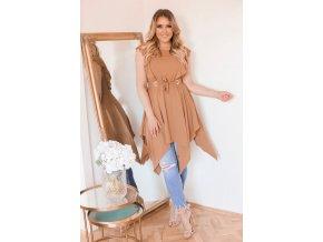 Hnedé asymetrické šaty s opaskom
