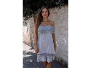 Modro-sivé šaty s odhalenými ramenami a čipkou