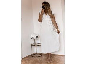 Dlhé biele šaty s krátkym rukávom