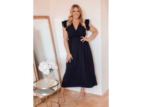 Dlhé čierne šaty s krátkym rukávom