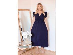 Dlhé tmavo-modré šaty s krátkym rukávom