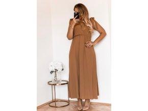 Dlhé hnedé šaty s mašľami na ramenách